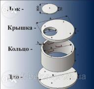 Concrete and reinforced concrete ring. Wells and drainage holes