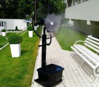 Portable humidifier fan misting